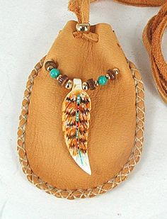 Native American Indian Buckskin Hawk Spirit Medicine Bag
