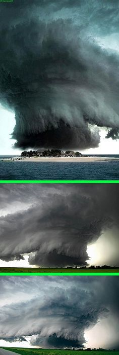 """Fake - Storm(Tornado) Over the Bermuda Triangle - First, there are no dwellings like these in The Bermuda triangle. Second, the original image on the bottom is titled """"Nebraska Supercell Takes on Other Worldly Shapes"""" by Mike Hollingshead and was taken near Alvo, Nebraska June 13, 2004. The image was squeezed and reversed.(Updated 11/2014)"""