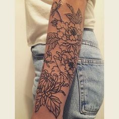 Peonies and Chrysanthemum Floral Forearm Tattoo.What a cool tattoo design idea! Love it very much! This will be my next tattoo design. via http://forcreativejuice.com/awesome-forearm-tattoo-designs/
