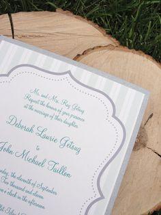 wedding invitation, teal and grey