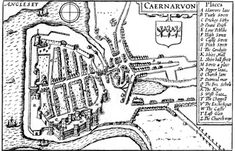 Caernavon (Wales), John Speed, 1611 /Medieval Urban Planning