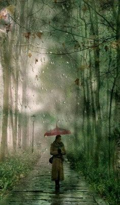 Colors shone with exceptional clarity in the rain. The ground was a deep black, the pine branches a brilliant green, the people wrapped in yellow looking like special spirits that were allowed to wander over the earth on rainy mornings only. • Haruki Murakami, Norwegian Wood