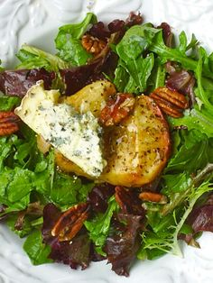 Roasted Apple & Pecan Salad with Stilton Cheese