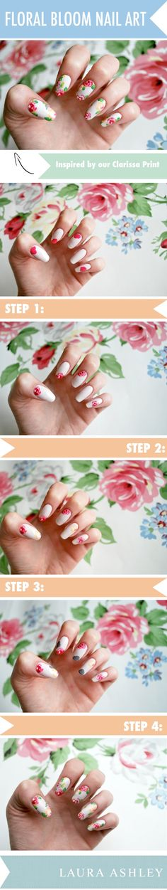 Floral Fancy! Follow guest blogger Caroline's step by step guide to recreating these Clarissa Floral Blooms http://blog.lauraashley.com/make-and-do/how-to-blossom-nail-art/