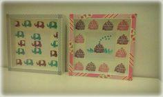 Cuadros hechos a partir de sellos de creación propia y washi tape para adornar el marco