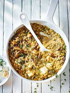 Try this quick vegetarian risotto with cheese and mushrooms for a speedy midweek dinner.