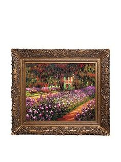 "Claude Monet ""Garden at Giverny"" Hand-Painted Reproduction"