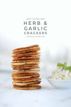 Keto Herb and Garlic Crackers made with fat-head dough and sour cream. Try with leftover sour cream. Keto Crackers Recipe, Low Carb Crackers, Cracker Recipe, Ketogenic Recipes, Low Carb Recipes, Diabetic Recipes, Ketogenic Diet, Baker Recipes, Snack Recipes