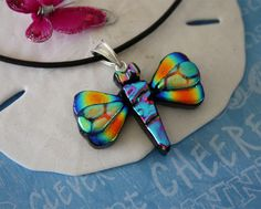 Dragonfly Necklace Dichoric Glass Sterling Silver