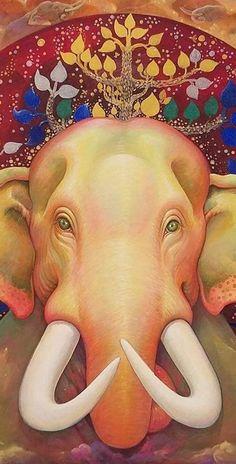 Thai Elephant, Bodhi Tree, Hand Painted, Paintings, Animals, Animales, Paint, Animaux, Painting Art