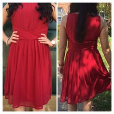 Sleeveless Red Chiffon Sleeveless Dress Stunning yet simple red chiffon dress. With s side zipper and small back button for ease of wearing. Fully lined and not see through. Pair with your favorite stilettos.. Model wearing Medium Moon Collection Dresses