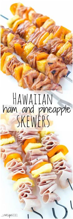 Hawaiian Ham and Pineapple Skewers: A super simple, 4-ingredient appetizer, lunch or dinner that comes together in minutes! Easily customize to your tastes. Perfect cold for a picnic lunch or cook them on the grill or in the oven for the perfect easy meal! www.thereciperebel.com