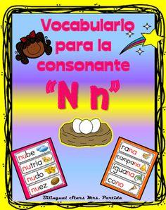 Vocabulario de la consonante N nContenido de este documento para la letra o consonante Nn15 tarjetas de vocabulario para  combinacin de la consonante y la  a 7  tarjetas de vocabulario para  combinacin de la consonante y la  e 5 tarjetas de vocabulario para combinacin de la consonante y la  i 9 tarjetas de vocabulario para combinacin de la consonante  o 4 tarjetas de vocabulario para combinacin de la consonante y la  u Bilingual Stars Mrs.