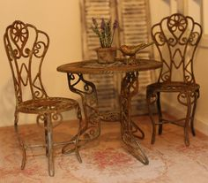 To be made on request. Rusty garden table, dollhouse miniature scale 1:12. €16.00, via Etsy.