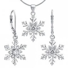 Set stříbrných náušnic a přívěsku - sněhové vločky Compass Tattoo, Snowflakes, Ceiling Lights, Tattoos, Accessories, Tatuajes, Snow Flakes, Tattoo, Outdoor Ceiling Lights