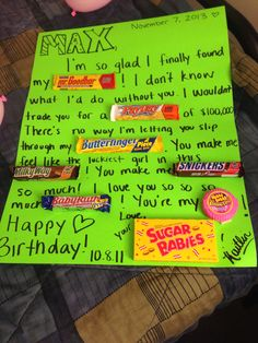 Candy card for boyfriend 39 s birthday projects to try for What should i give my boyfriend for his birthday