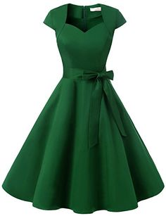 Dressystar DS1955 Women Vintage 1950s Swing Cap Sleeevs Prom Dresses V Neck XS Army Green