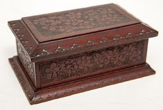 c1880 Cincinnati Art Mvt, carved box, wal, 6, 17-3h.
