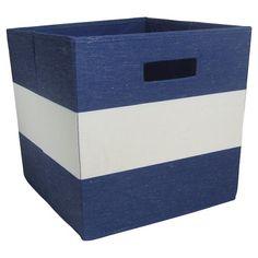 Fabric Cube Storage Bin Navy Stripe - Pillowfort™