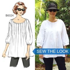 Sew the Look: Make this out of cotton batiste and it will be your favorite top of the summer. Plus, pretty pintucks! Sew Butterick  B6024 tunic pattern.