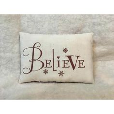 Believe Word Pillow For Christmas ($7.99) ❤ liked on Polyvore featuring home, home decor, holiday decorations, handmade home decor, red home accessories, handmade christmas stockings and holiday decor