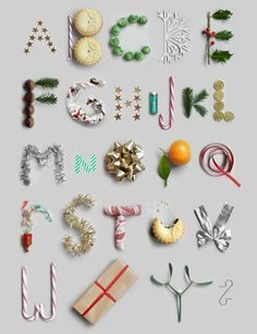 Christmas Alphabet by Present and Correct Christmas Typography, Christmas Fonts, Noel Christmas, Christmas Design, Holiday Font, Google Christmas, Christmas Brunch, Food Typography, Creative Typography