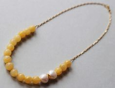Yellow Jade and Freshwater Pearls with Gold Vermeil Beads and a Gold Filled Chain Necklace by ILgemstones on Etsy