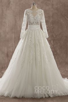 Charming A-Line Illusion Natural Train Tulle Ivory Long Sleeve Wedding Dress with Appliques 2015 Wedding Dresses, Wedding Bridesmaid Dresses, Tulle Wedding, Wedding Gowns, Long Sleeve Wedding, Appliques, Bridal, Illusion, Ivory