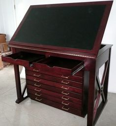 A flat file and a drafting table have merged. Love it.