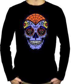 069dc0f17 Blue Sugar Skull Calavera Men's Long Sleeve T-Shirt