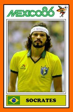 Socrates in Mexico recuerdos. Brazil Football Team, Football Icon, National Football Teams, World Football, Football Kits, Football Soccer, Retro Football Shirts, Football Stickers, Vintage Football