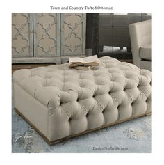 Town and Country Tufted Ottoman light linen with deep tufts, light washed wood base. ideal for dressing room or as table