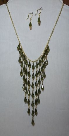 Greenery Bib necklace made from vintage beads.