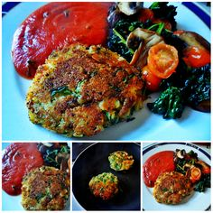 Cheezy Potato Cakes With Rocket, Homemade Tomato Sauce and Sauteed ...