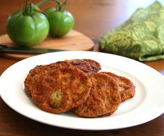 Low Carb Fried Green Tomatoes Recipe Side Dishes with green tomatoes, salt, large eggs, heavy cream, peanut flour, cajun seasoning, olive oil