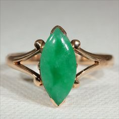 Antique 18k Edwardian Marquis Jade Ring c.1910 by VictoriaSterling, $975.00  #downton