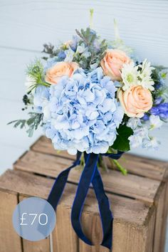New England-style Navy & Peach Wedding Bouquet Navy Peach Wedding, Blue Wedding Flowers, Wedding Colors, Blue Bridal, Peach Flowers, Blue Roses, Light Blue Flowers, Blue Wedding Bouquets, Pastel Blue Wedding