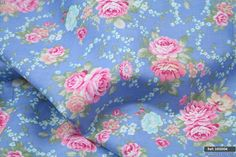 Blue pink floral 100% cotton fabric sold by meter 63 inches width [1605004] | eBay