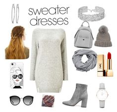 """Sweater dresses"" by jwmot on Polyvore featuring Miss Selfridge, MANGO, Eugenia Kim, WithChic, Casetify, Dolce&Gabbana, Yves Saint Laurent, CLUSE and DANNIJO"