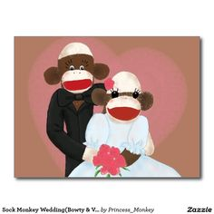 Sock Monkey Wedding(Bowty & Violet) Postcard