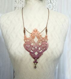 lace necklace MATILDE ombre vintage rose by tinaevarenee on Etsy, $39.00