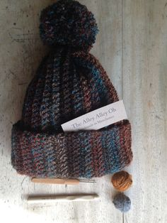 Marble Browns Teal Rust Crochet PomPom Bobble by TheManchesterBee, £27.00