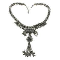 Collier fantaisie argenté - Bijou indien design pour femmes: ShalinCraft: Amazon.fr: Bijoux