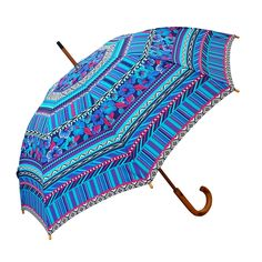 Beautifully printed Clifton Manual Walking Long Timber Aztec Blue rain umbrella has a timber frame and brightly printed canopy in full length.