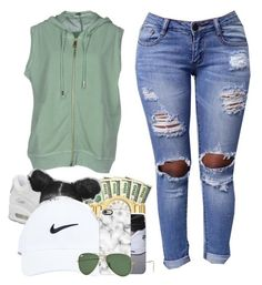 """Young and I'm gettin it"" by ayeesavy ❤ liked on Polyvore featuring NIKE, Jijil, Casetify and Ray-Ban"