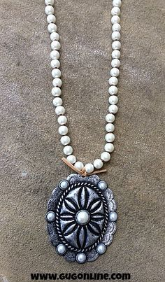 Long Pearl Necklace with Large Silver Concho $36.95 www.gugonline.com