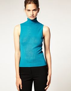 Enlarge ASOS Knitted Sleeveless Top With  Roll Neck