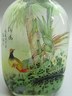 Chinese Glass Inside-drawing Hand Painted Phenix & Bird Pattern Snuff Bottle