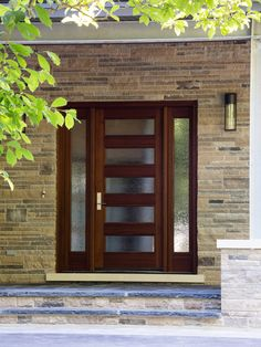 Doors Designs, Contemporary Wooden Front Door With Glass Designs Also Stone Bricks Wall Material Also Modern Exterior Wall Light Also Stone Entry Staircase Design: Front Doors with Glass Designs and Ideas