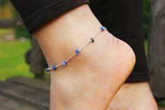 Handmade Lapis Lazuli gemstones anklet created by Sitaras Collection